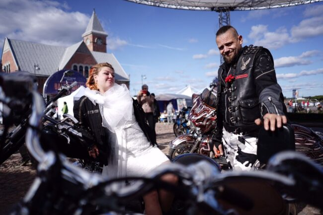 мотофестиваль Baltic Rally, мотоциклисты, мотопробег, байкеры, свадьба