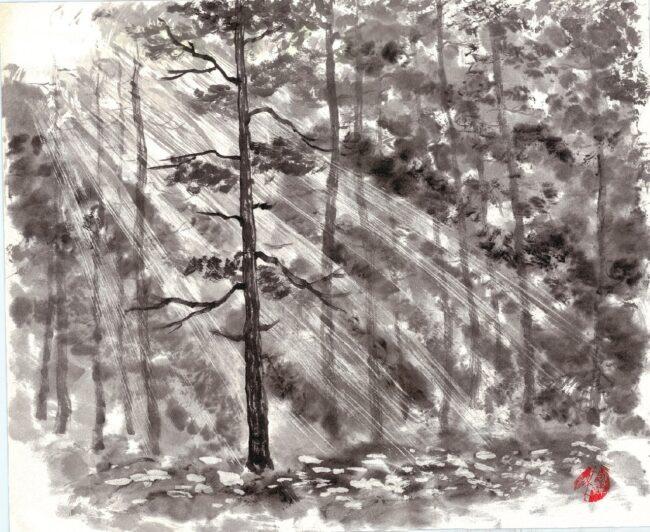 выставка «Краски и слова», японская живопись суми-э