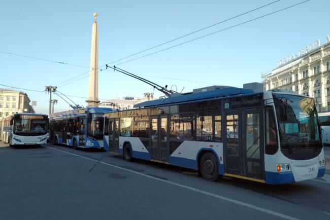 троллейбусы, пробка, затор, остановка движения, Невский проспект